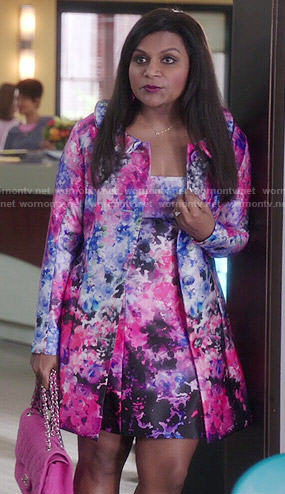Mindy's pink watercolor floral coat and dress set on The Mindy Project
