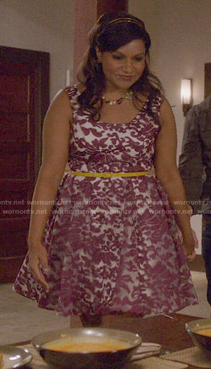 Mindy's purple and white floral dress on The Mindy Project