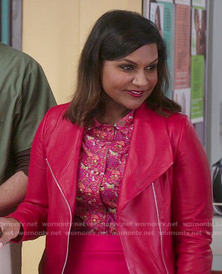 Mindy's red leather jacket and animal printed shirt on The Mindy Project