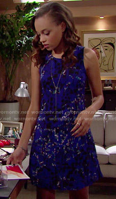 Nicole's blue floral dress on The Bold and the Beautiful