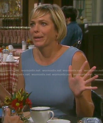 Nicole's blue v-back high-low dress on Days of our Lives