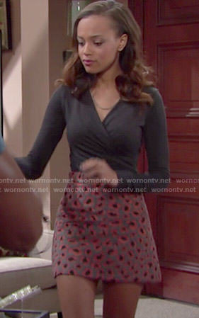 Nicole's leopard print skirt and wrap top on The Bold and the Beautiful