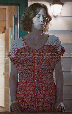 Nora's red and white printed button front dress on The Leftovers