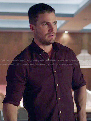 Oliver's burgundy button front shirt on Arrow