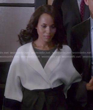 Olivia's black and white colorblock coat on Scandal