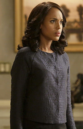 Olivia's blue crocodile textured jacket on Scandal