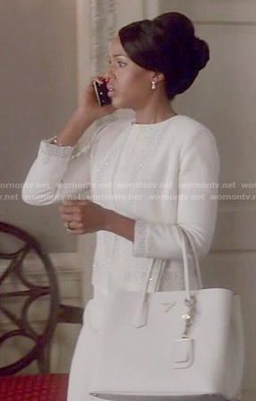Olivia's white beaded jacket on Scandal