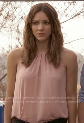 Paige's blush pink pleated neck top on Scorpion
