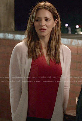 Paige's red blouse and white cardigan on Scorpion
