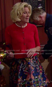 Pam's butterfly print skirt and red cardigan on The Bold and the Beautiful