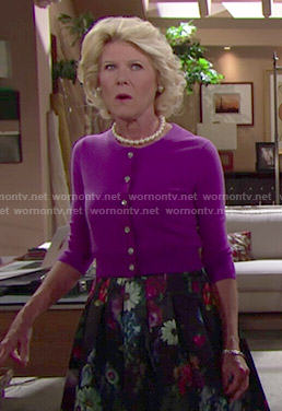 Pam's floral skirt and purple cardigan on The Bold and the Beautiful