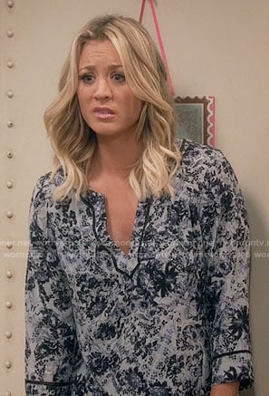 Penny's blue floral split-neck blouse on The Big Bang Theory