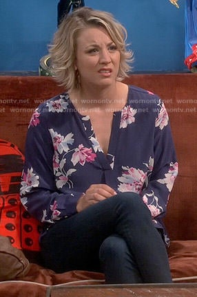 Penny's blue floral v-neck blouse on The Big Bang Theory