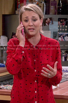 Penny's red heart print shirt on The Big Bang Theory