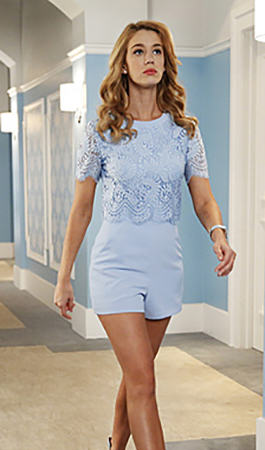 Petra's blue lace playsuit on Jane the Virgin