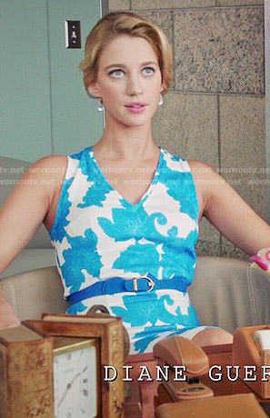 Petra's blue and white paisley print v-neck dress on Jane the Virgin