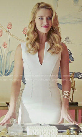 Petra's white split neck dress on Jane the Virgin