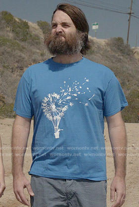 Phil's blue dandelion print t-shirt on Last Man on Earth