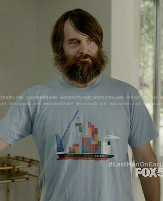 Phil's blue tetris t-shirt on Last Man on Earth