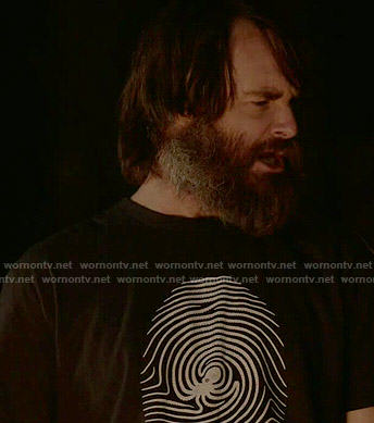 Phil's octopus fingerprint t-shirt on Last Man on Earth