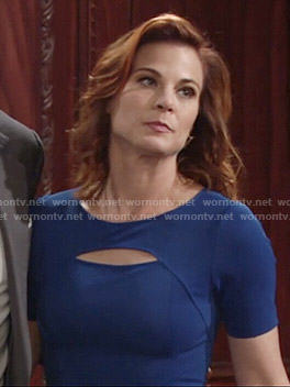 Phyllis's blue short sleeved dress with front cutout on The Young and the Restless
