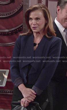 Phyllis's navy draped jacket on The Young and the Restless