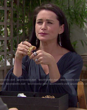 Quinn's navy blue peasant blouse on The Bold and the Beautiful