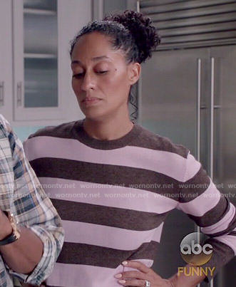 Rainbow's pink and brown striped sweater on Black-ish
