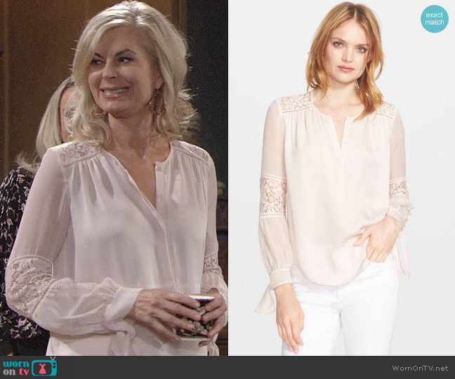 Rebecca Taylor Silk and Lace Blouse in Malt Ball worn by Ashley Abbott (Eileen Davidson) on The Young & the Restless
