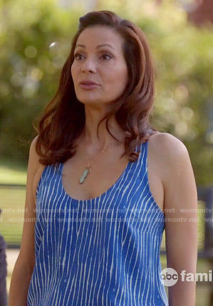 Regina's blue striped tank top on Switched at Birth