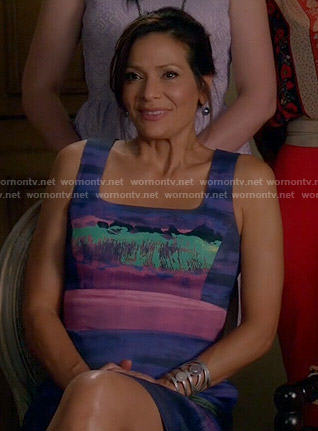 Regina's purple painted print dress on Switched at Birth