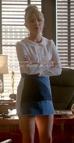 Rhonda's denim patchwork skirt and white collared blouse on Empire