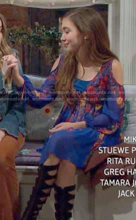 Riley's blue floral cold shoulder dress on Girl Meets World