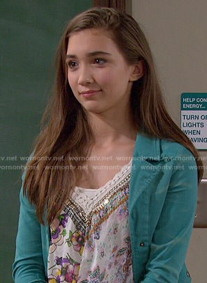 Riley's floral embellished top and teal ruffled jacket on Girl Meets World