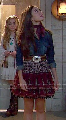Wornontv Riley S Denim Shirt And Printed Skirt On Girl