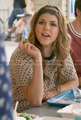 Sadie's polka dot top on Awkward