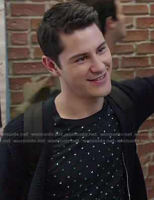 Shane's polka dot t-shirt on Faking It