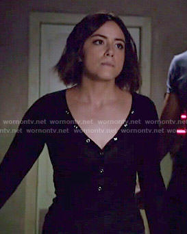 Jemma's white split-neck blouse on Agents of SHIELD