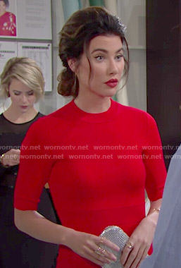 Steffy's red dress with back cutouts on The Bold and the Beautiful