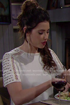 Steffy's white crochet sleeve top on The Bold and the Beautiful
