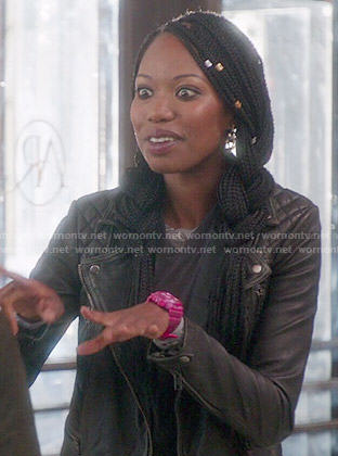 Tamra's leather jacket on The Mindy Project