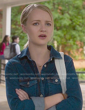 Taylor's denim shirtdress on Finding Carter