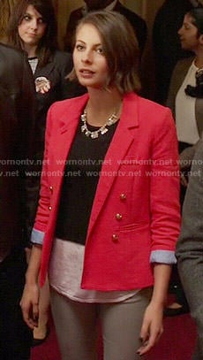 Thea's red double-breasted blazer on Arrow