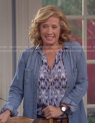 Vanessa's blue ikat print blouse on Last Man Standing