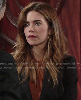 Victoria's brown twist-neck dress on The Young and the Restless