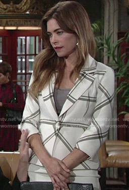 Victoria's white plaid blazer on The Young and the Restless