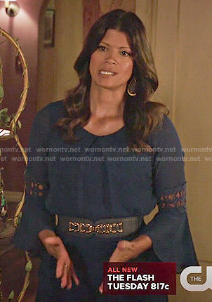 Xiomara's blue bell sleeve dress on Jane the Virgin