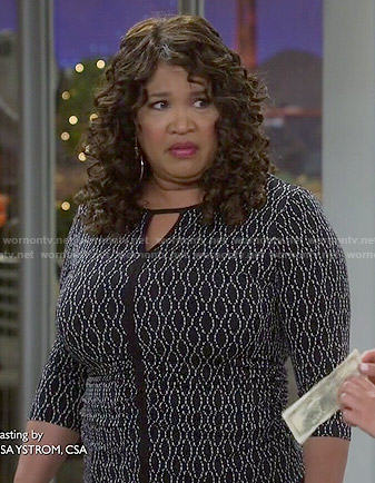 Yolanda's black printed keyhole top on Young and Hungry