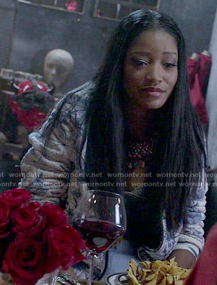 Zayday's blue tie dyed bomber jacket on Scream Queens