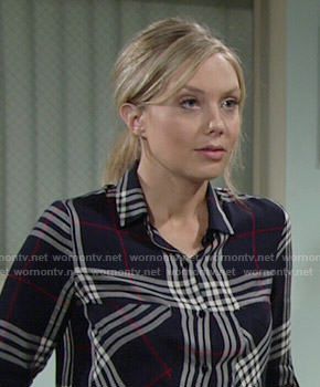 Abby's navy plaid shirt on The Young and the Restless